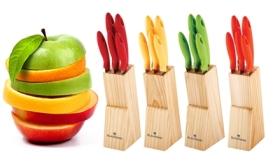 3.990 Ft helyett 1.590 Ft: Vidám színek a konyhában - 5 részes késkészlet fa tartóval különböző színekben