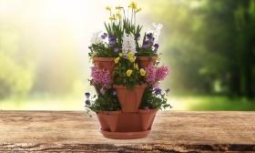 1 db 3 vagy 4 cserepes műanyag kaspó, virágoszlop építéséhez 58-73% kedvezménnyel