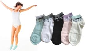 1.490 Ft helyett 790 Ft: 5 pár mintás női nyári zokni egy csomagban, két színvilágban