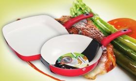5.990 Ft helyett 3.490 Ft: Kerámia bevonatos grill serpenyő vagy wok piros színben